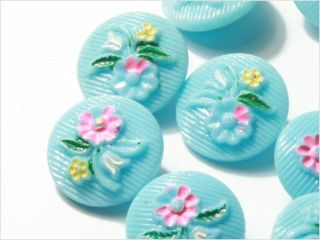 (12) 18 Mm Antique Vintage Czech Floral Baby Blue Glass Buttons Painted photo