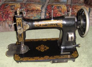 White Rotary Treadle Sewing Machine Head With Bobbin And Holder Pretty 1905 photo