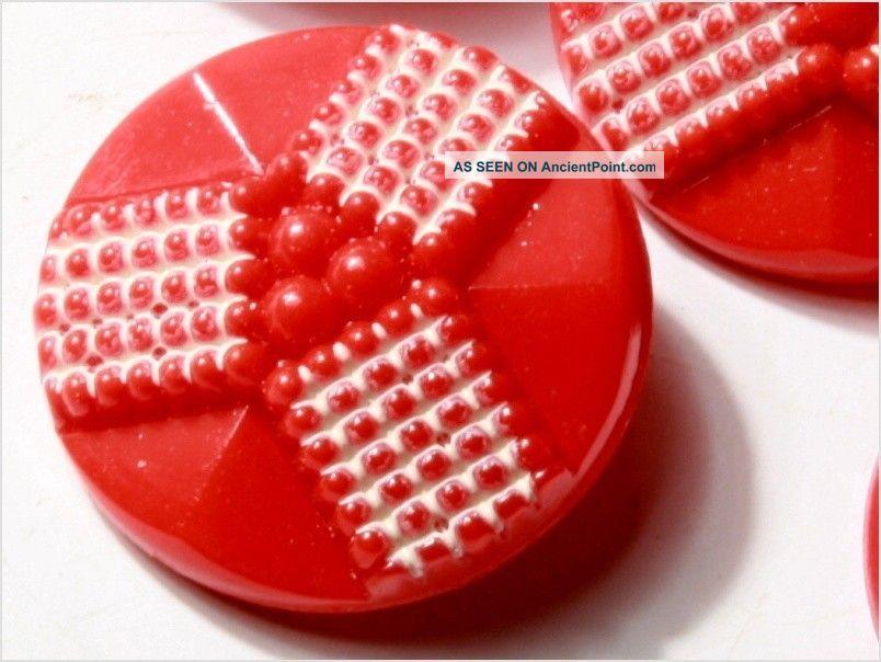 (6) 23 Mm Antique Vintage Czech Red Art Deco Glass Buttons 20´s Buttons photo
