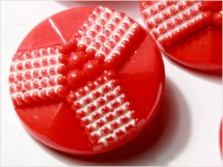 (6) 23 Mm Antique Vintage Czech Red Art Deco Glass Buttons 20´s photo
