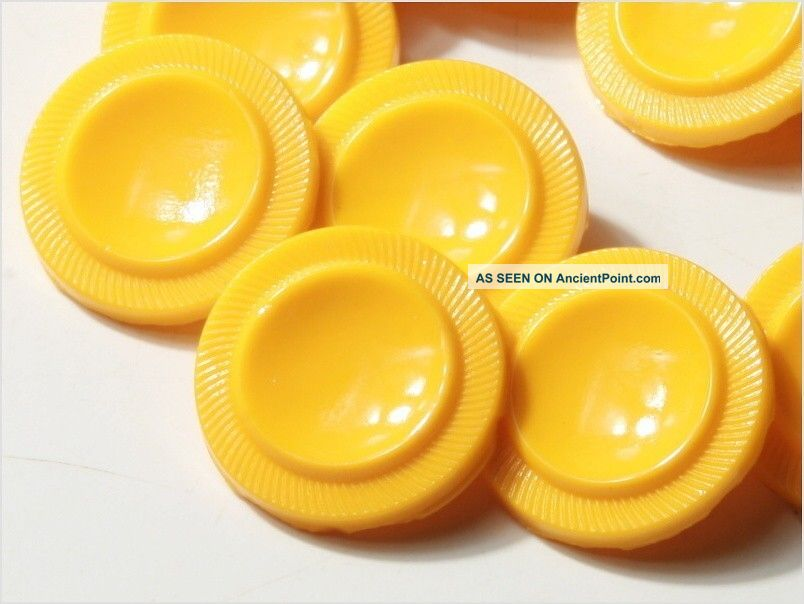 (24) 18 Mm Rough Antique Vintage Czech Mustard Yellow Deco Glass Buttons 20´s Buttons photo