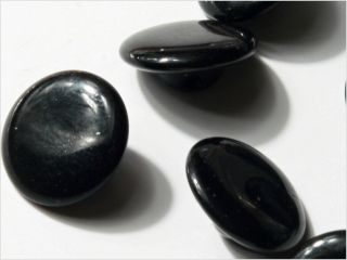 (12) 13 Mm Vintage Deco Czech Fancy Black Glass Buttons photo