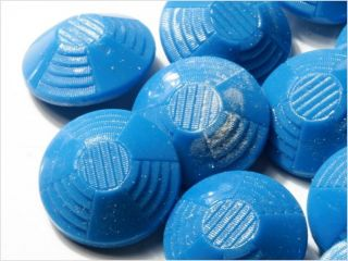 (24) 18 Mm Antique Vintage Art Deco Czech Blue Glass Buttons 20´s photo