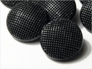 (12) 18 Mm 20´s Vintage Czech Deco Fancy Black Glass Buttons photo
