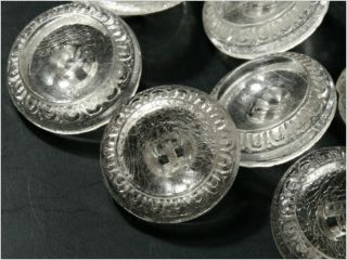 (24) 18 Mm Vintage Art Deco Czech Fancy Clear Crystal Glass Buttons Floral photo