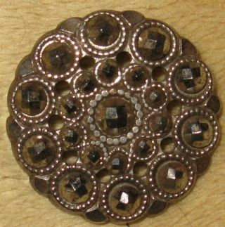 Antique Pierced Court Steel Button Excellent Handiwork W/mille Graines Detail photo