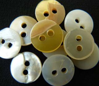 Antique Mother Of Pearl White Center Doulbe Hole Buttons 40 Count photo