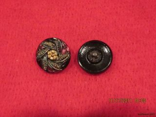 6 - Antique 1920 ' S Hand Painted Czech Floral Pinwheel - Black Button 23 - 23/32