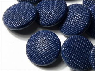 (12) 18 Mm Vintage Deco Czech Fancy Dark Blue Glass Buttons photo