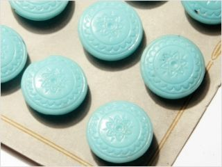 Card (24) 18 Mm 20´s Vintage Czech Deco Fancy Glass Buttons Pale Blue Flower photo