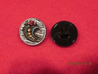 6 - Antique 1920 ' S Hand Painted Czech Cornucopia - Black Button 21 - 23/32