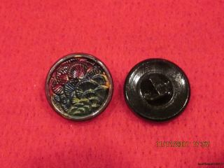 6 - Antique 1920 ' S Hand Painted Czech Layered Floral - Black Button 20 - 23/32