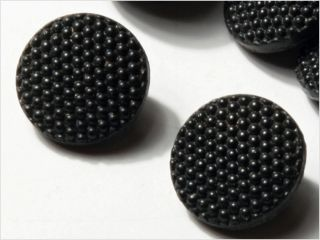 (12) 10 Mm Vintage Doll Deco Czech Fancy Black Glass Buttons photo