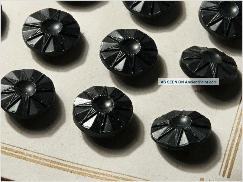 Card (48) 13 Mm 20´s Vintage Czech Art Deco Flower Black Glass Buttons Buttons photo