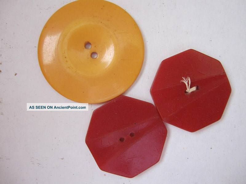 3 Antique Bakelite Buttons 2 Red - 1 Large Yellow Buttons photo