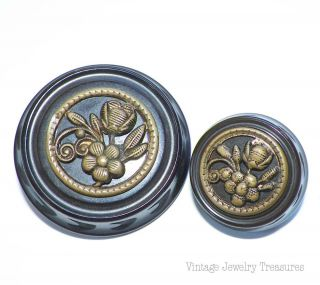 Antique Vintage 2 Chocolate Brown Carved Bakelite Brass Flower Buttons photo