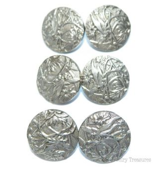 Antique Nouveau C1800 Solidaire Paris Butterfly Lot 6 14mm Silver Buttons E202 photo