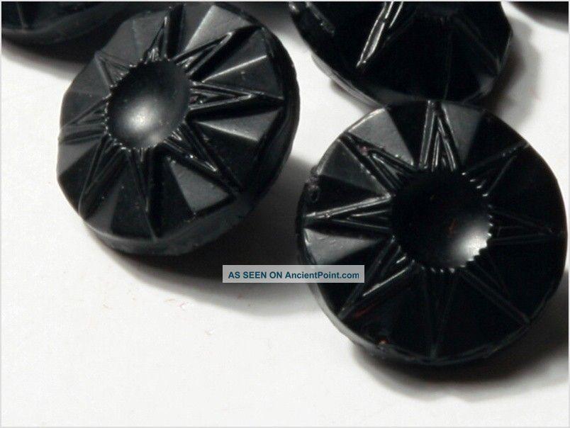 (12) Doll S 10 Mm 20´s Vintage Czech Art Deco Flower Black Glass Buttons Buttons photo