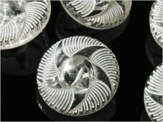 (12) 18 Mm Vintage Fancy Czech Art Deco Crystal Glass Glass Buttons photo