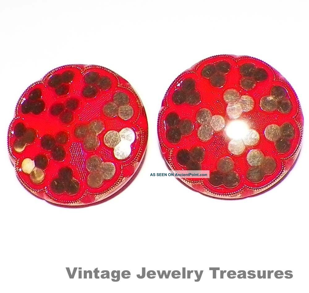 Vintage Antique Red & Gold Czech Glass Clip Earrings Buttons photo