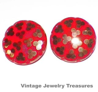 Vintage Antique Red & Gold Czech Glass Clip Earrings photo