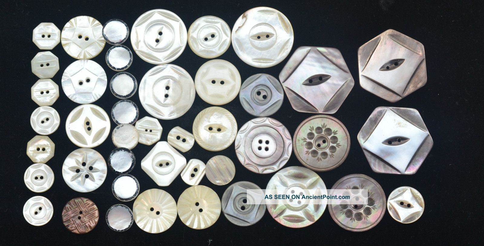 43 Antique Buttons Carved Mother Of Pearl & Black Abalone Sm - Med 15 Buttons photo