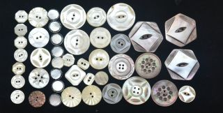 43 Antique Buttons Carved Mother Of Pearl & Black Abalone Sm - Med 15 photo