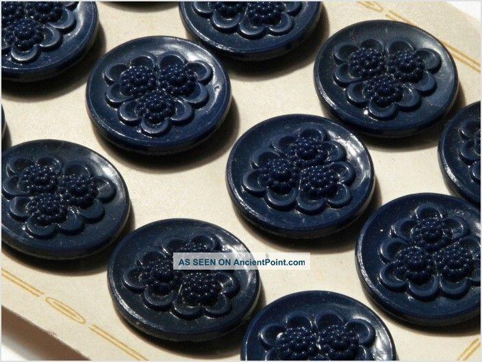 Card (12) Antique Vtg Czech Dark Blue Floral Glass Buttons 20´s 23 Mm Buttons photo