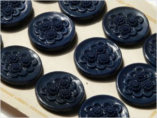 Card (12) Antique Vtg Czech Dark Blue Floral Glass Buttons 20´s 23 Mm photo