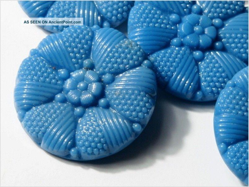 (6) 22 Mm Antique Vintage Czech Blue Heart Flower Glass Buttons 20´s Buttons photo
