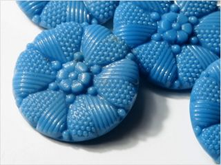 (6) 22 Mm Antique Vintage Czech Blue Heart Flower Glass Buttons 20´s photo
