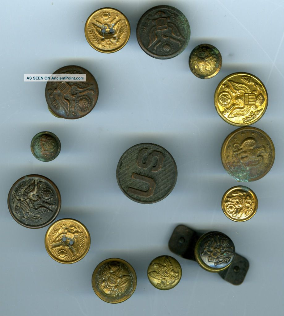 Antique Military Buttons (14) / Lot 1,  Mixed Group Buttons photo