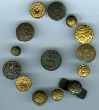 Antique Military Buttons (14) / Lot 1,  Mixed Group photo