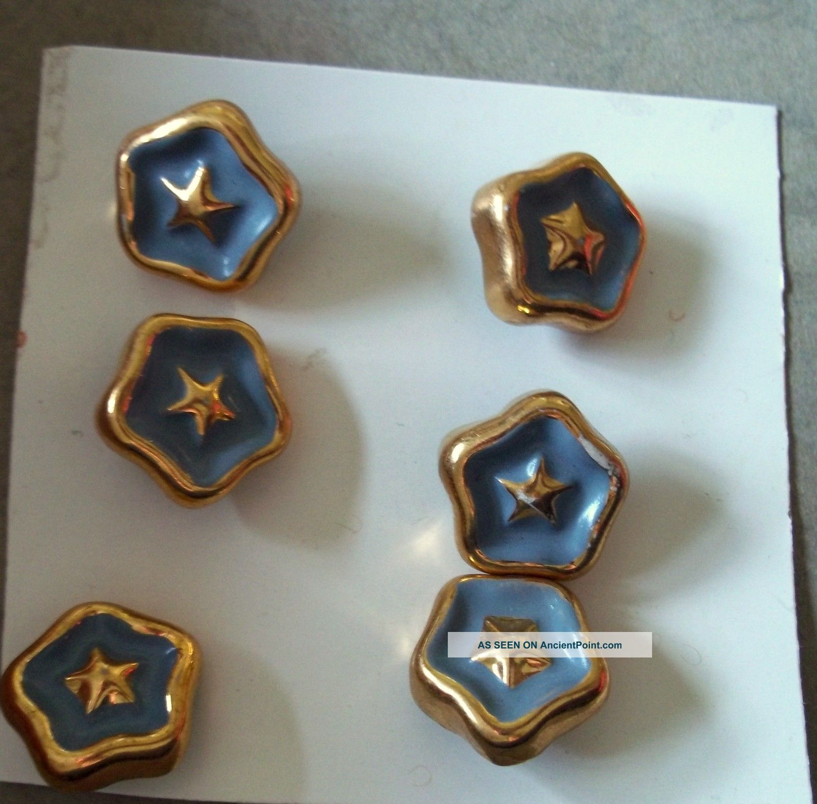 Card Of Six Vintage Sewing Buttons,  Star Shaped Gold Metal With Blue Enamel Buttons photo