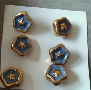 Card Of Six Vintage Sewing Buttons,  Star Shaped Gold Metal With Blue Enamel photo