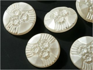 (12) 18 Mm 20´s Antique Vintage Czech Faux Pearl Flower Clear Glass Buttons photo