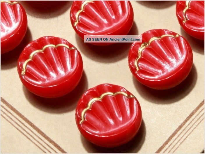 Card (24) 13 Mm 20´s Vintage Czech Art Deco Glass Buttons Red Shell Buttons photo