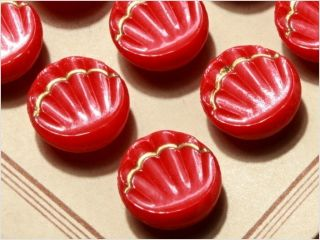 Card (24) 13 Mm 20´s Vintage Czech Art Deco Glass Buttons Red Shell photo