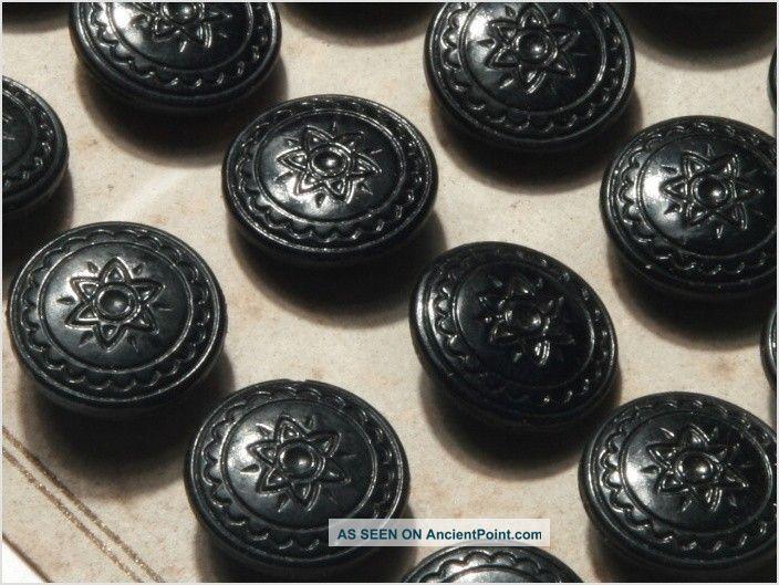 Card (24) Antique Vtg Czech Black Floral Glass Buttons 20´s 14 Mm Buttons photo
