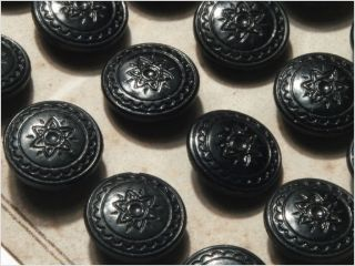 Card (24) Antique Vtg Czech Black Floral Glass Buttons 20´s 14 Mm photo