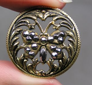 Brass Openwork Picture Button Butterfly W/ Cut Steels Metal photo