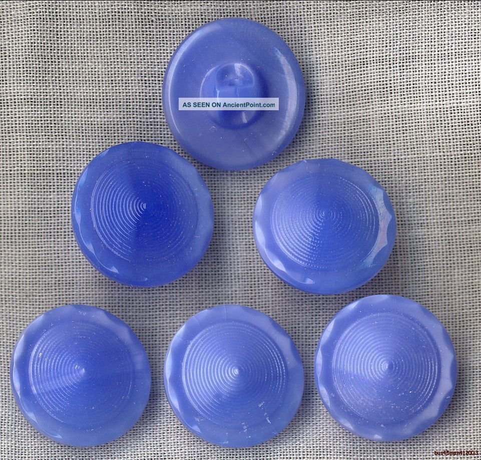 6 - Czech Glass Blue Curved Border/cone Buttons - 18.  5mm Buttons photo