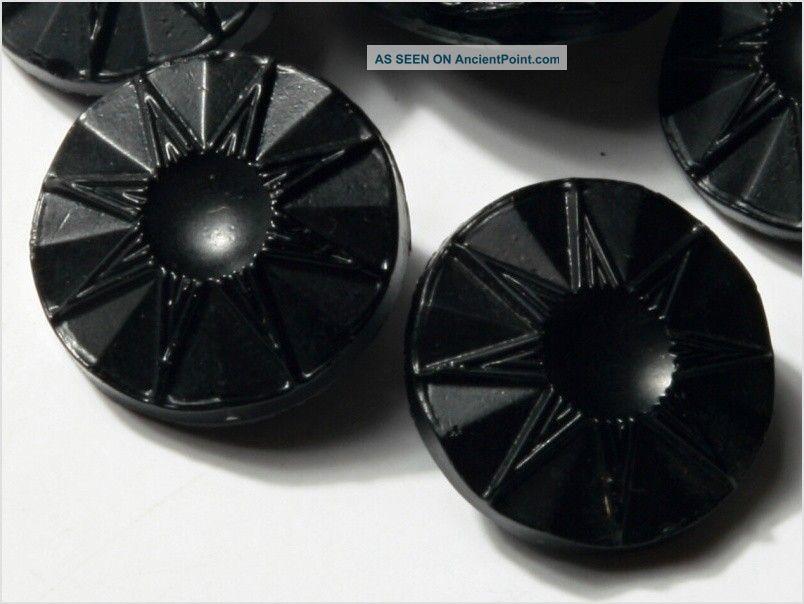 (12) 14 Mm 20´s Vintage Czech Art Deco Flower Black Glass Buttons Buttons photo