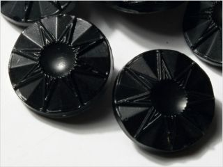 (12) 14 Mm 20´s Vintage Czech Art Deco Flower Black Glass Buttons photo