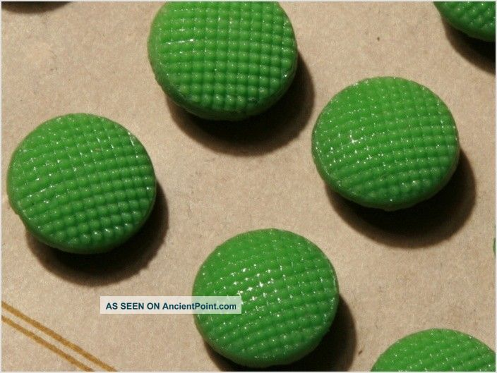 Card (24) Antique Vtg Czech Green Fancy Glass Buttons 20´s Doll S 11 Mm Buttons photo