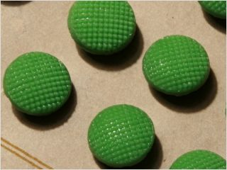 Card (24) Antique Vtg Czech Green Fancy Glass Buttons 20´s Doll S 11 Mm photo