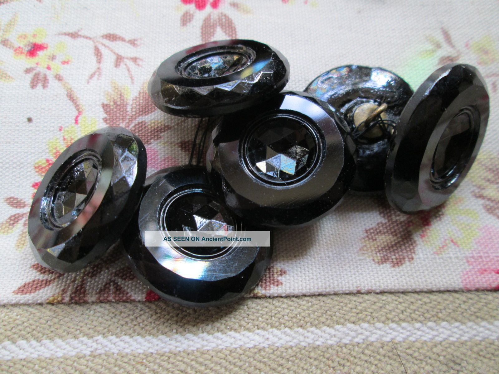 Antique Black Glass Buttons/french Jet Buttons photo