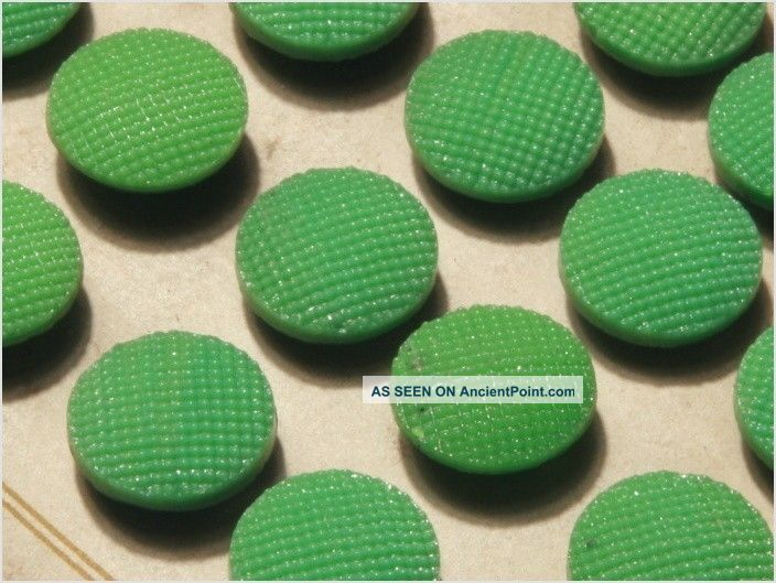 Card (24) Antique Vtg Czech Green Fancy Glass Buttons 20´s 13 Mm Buttons photo