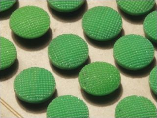 Card (24) Antique Vtg Czech Green Fancy Glass Buttons 20´s 13 Mm photo