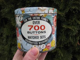 Antique 700 Buttons Guarateed Advertising Washable Sewing Container Tea Tin photo